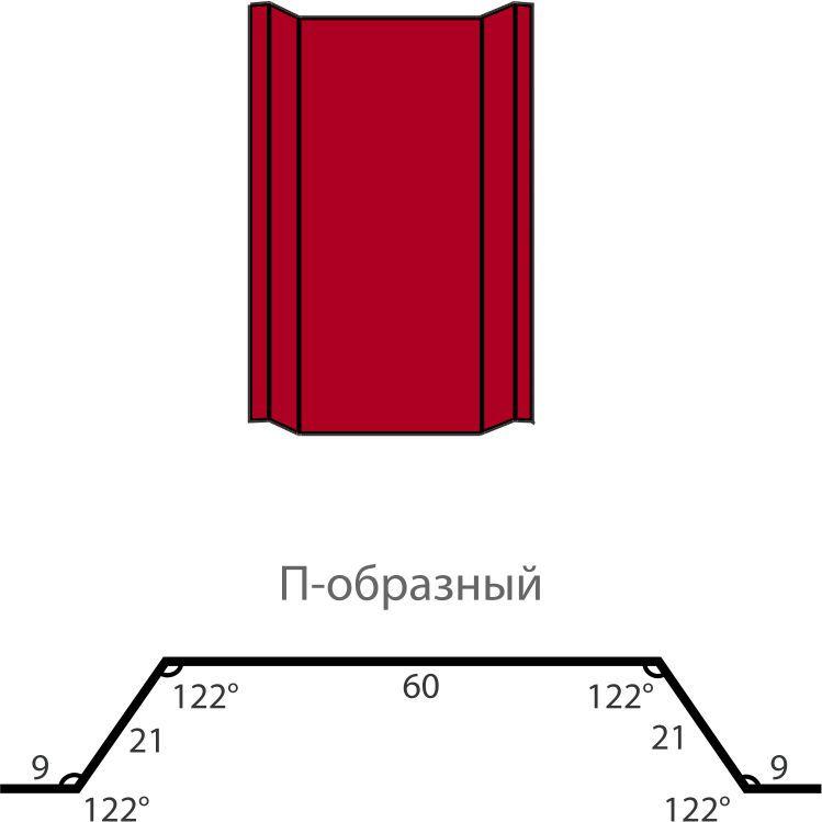Металлический штакетник П-образный 2 м