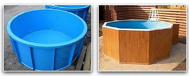 Пластиковая купель до и после установки на каркас и отделки