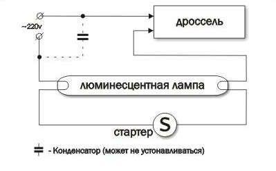 Схема подключения люминесцентной лампы через дроссель