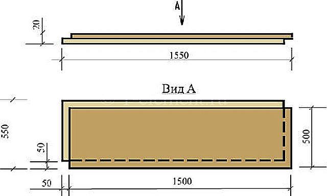 Другой вариант - элементы пола 1500 × 500 мм