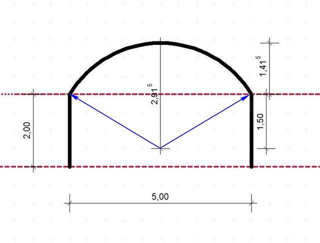 Пример расчета площади с участком в форме сегмента