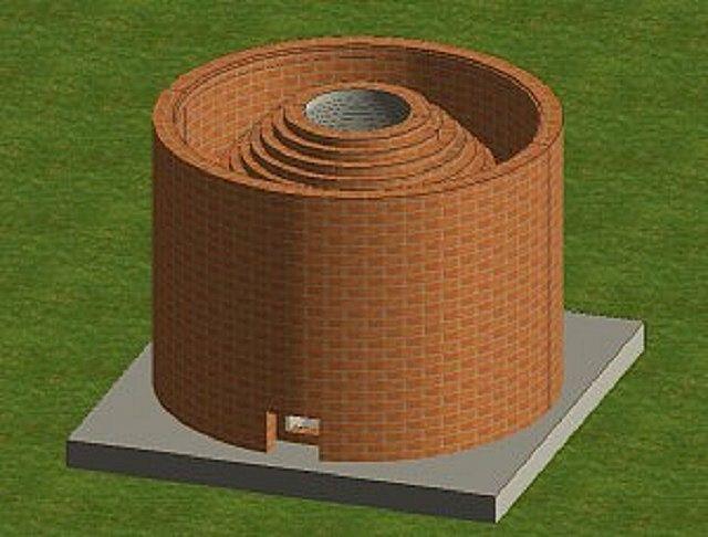 Далее тандыр окружается внешней цилиндрической  стеной