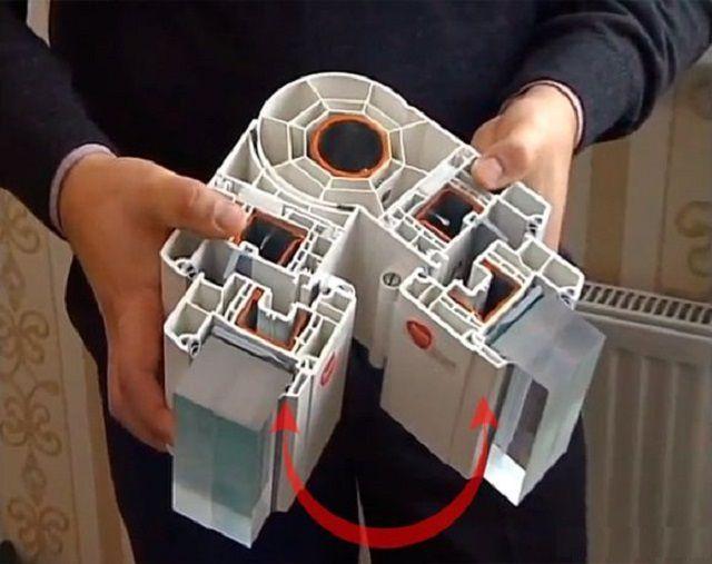 Разрез специального углового профиля для металлопластиковых рам