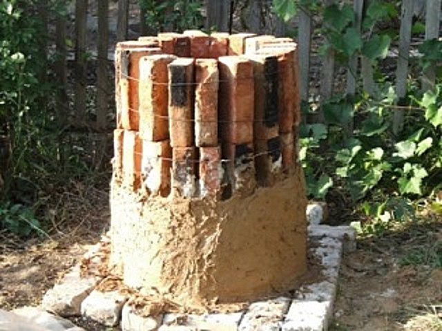 Обмазывание кирпичной конструкции глиной