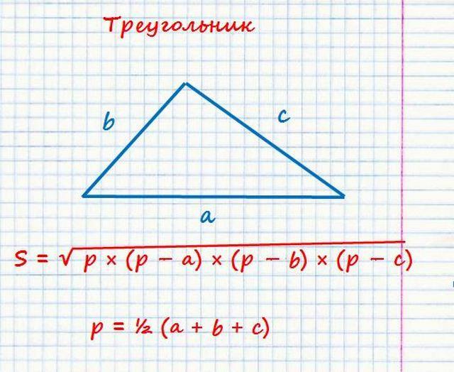 Расчет площади треугольника по формуле Герона