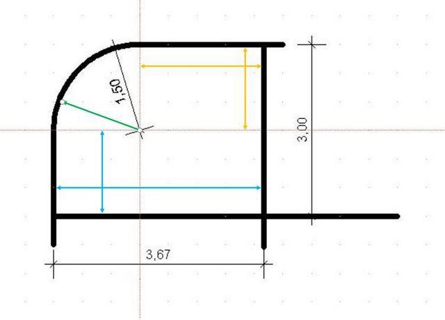 Дугой соединены две перпендикулярных стенки
