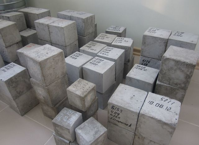 Кубики - испытательные образцы партий бетона