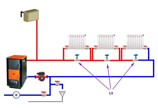 Д. На байпасах установлены балансировочные вентили