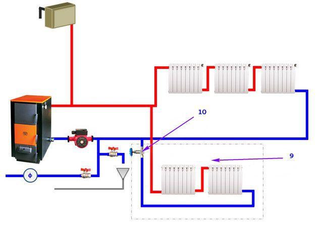 В. Дополнительный контур с регулировочным вентилем