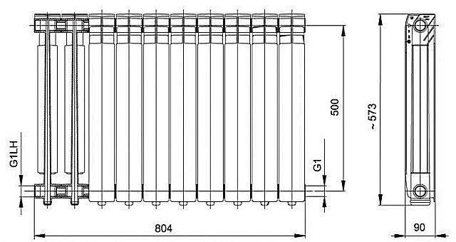 Схема алюминиевой батареи с межосевым расстоянием 500 мм