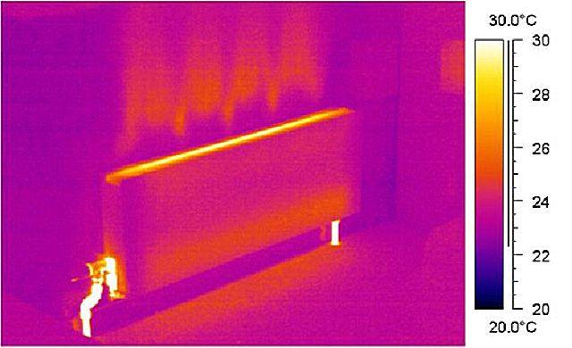 Термограмма распространения тепла от панельного радиатора