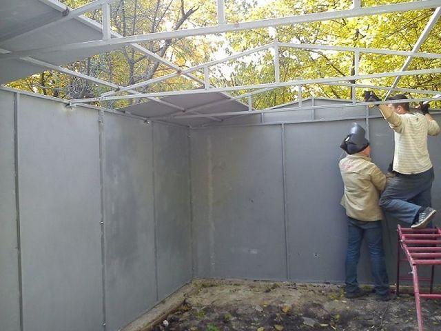 Монтаж стен с помощью электросварки