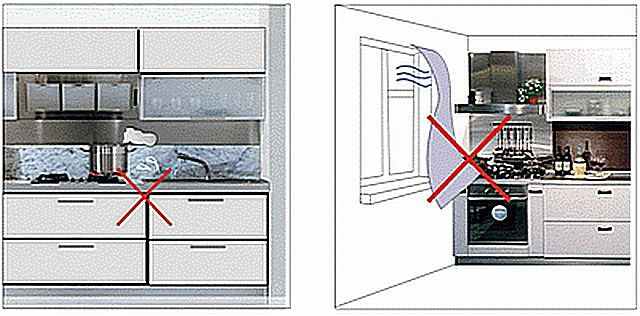 Недопустимые места для кухонной плиты