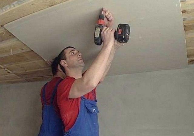 Крепление листа ГКЛ к деревянному потолку