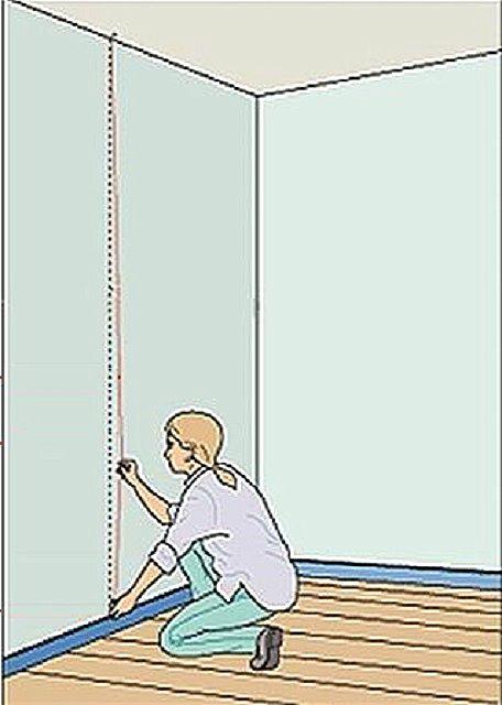 Отбивка линии на стене мелированным шнуром с отвесом