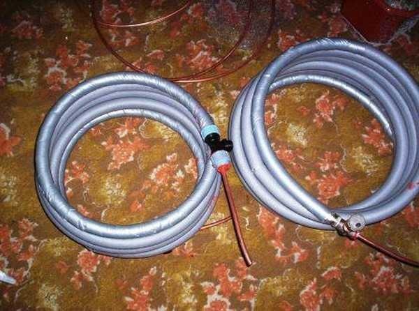 Два составных теплообменника из металлопластиковых и медных труб