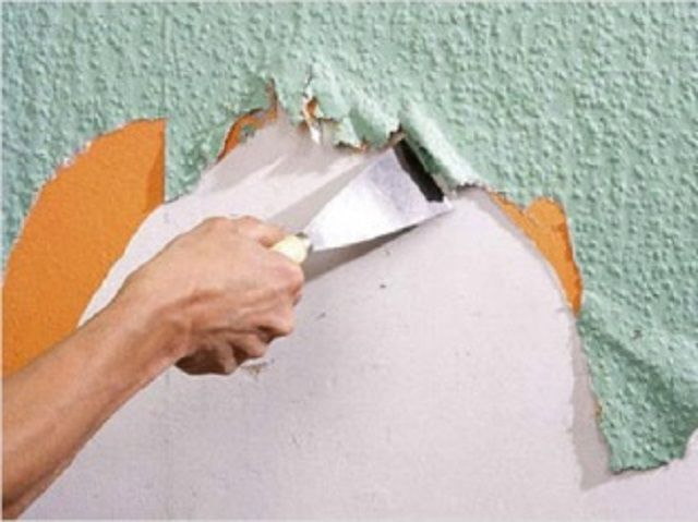 Очистка стены от старых обоев
