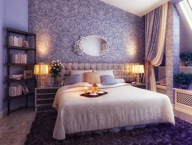 интерьер спальни с обоями двух видов попробуйте поэкспериментировать