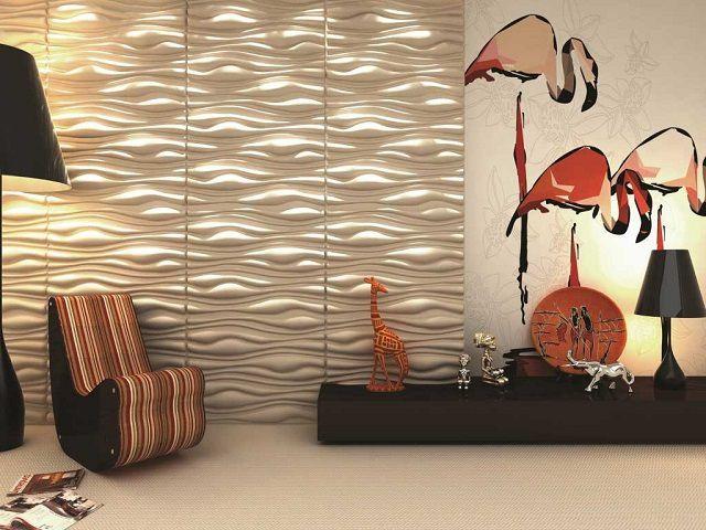 Стеновые панели 3D панели в сочетании с грамотным распределением света создают совершенно особый интерьер