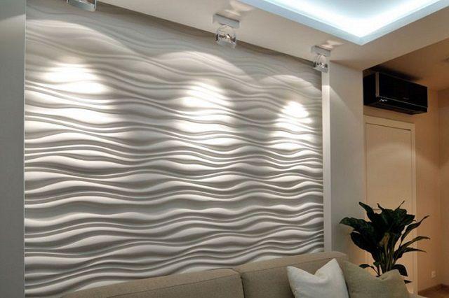 Стена, облицованная 3D-панелями