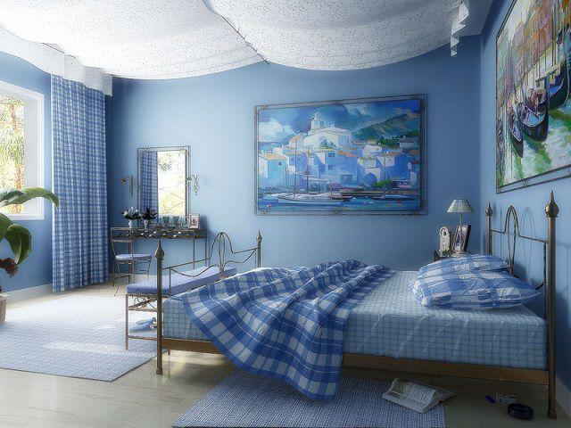 Хорошее сочетание оттенков синего и голубого способствует преобладанию положительной энергии
