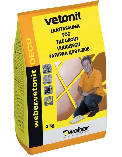Заводская упаковка затирки «Weber vetonit DECO»