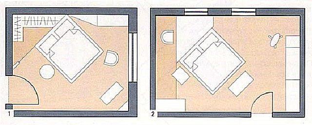 Допускается размещение кровати по диагонали