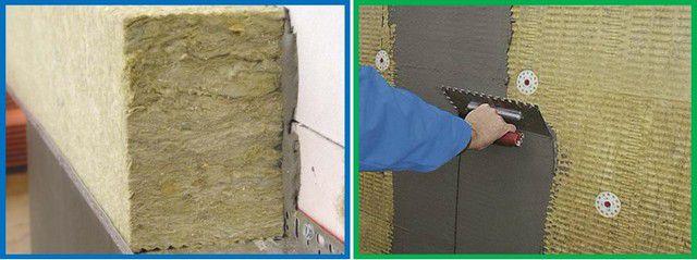 Базальтовую вату можно монтировать на клей и штукатурить