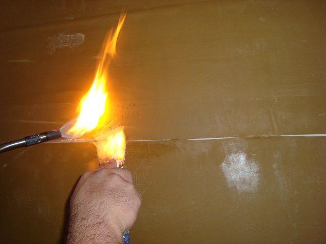 """Проваривание стыков """"Тексаунда"""" с помощью газовой горелки"""
