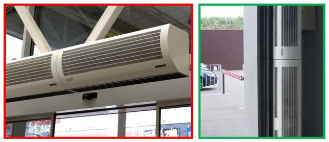 Установка нескольких воздушных завес для полного перекрытия входного проема