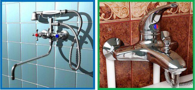 Настенная установка на вмурованные или открыто расположенные трубы