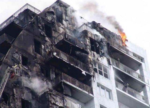 Жуткая картина - горение утепленного фасада