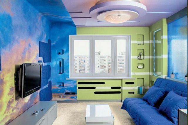 Использование краски позволяет воплотить даже самые смелые проекты оформления комнат
