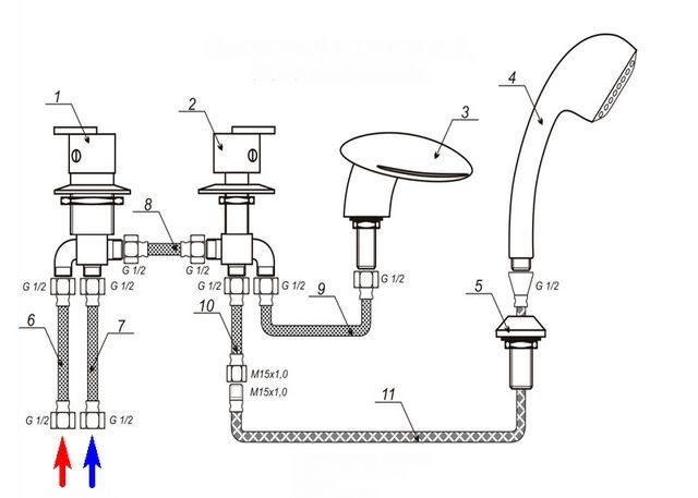 Схема подключения четырехпозиционного смесителя с гибкими подводками и соединениями