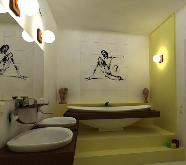 Пример зонального освещения ванной комнаты