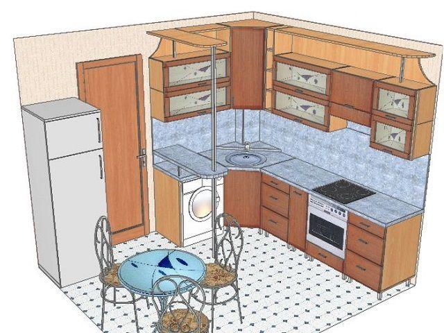 При обустройстве небольшой квадратной кухни возможности все же пошире