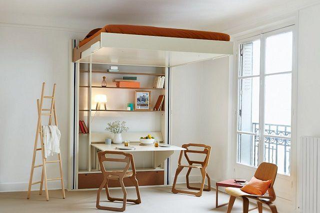 Кровать с подъемным механизмом - на дневное время ложе поднимается к потолку