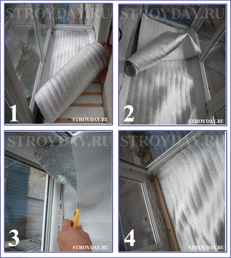 Пошаговый процесс укладки отражающего утеплителя на балкон