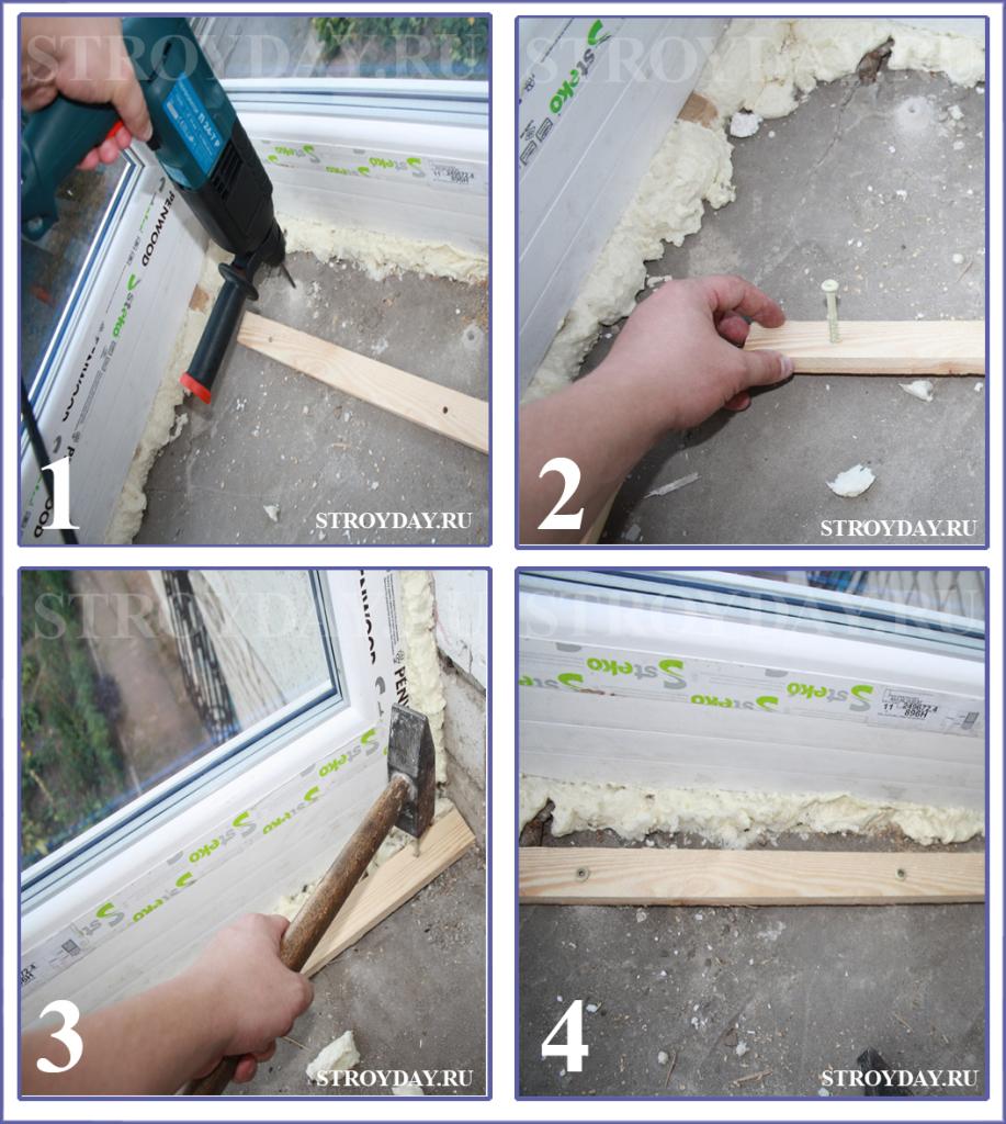 Процесс крепления опалубки для пола на балконе