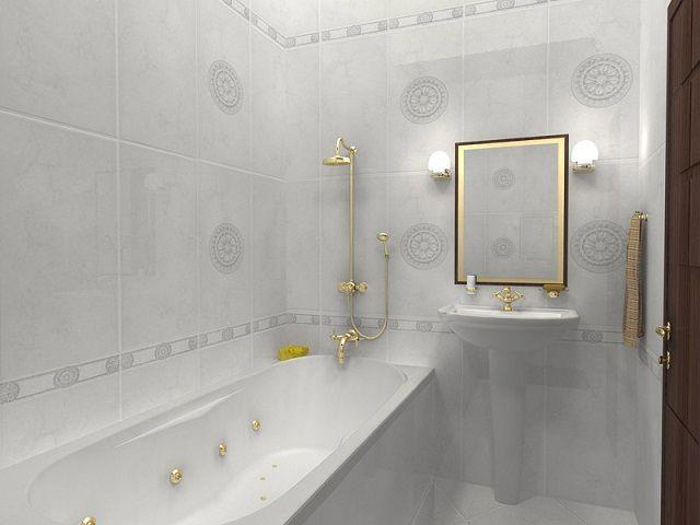 Оптимальная отделка тесной ванной - это светлые тона керамической плитки