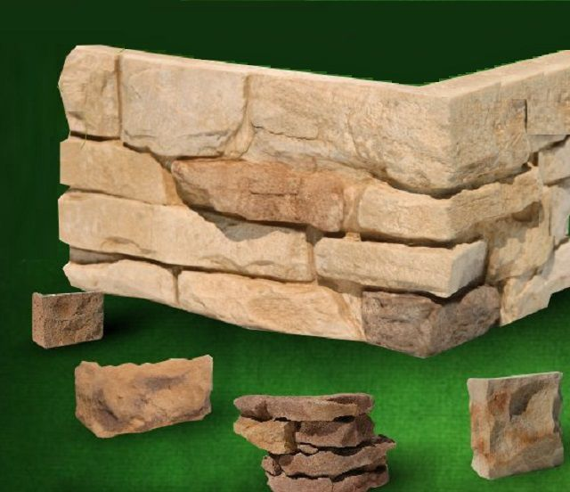 Для отделки искусственным камнем углов проемов также выпускаются специальные элементы
