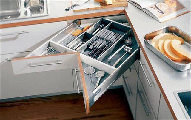 Выдвижной ящик сложной формы - угол шкафов остается задействованным