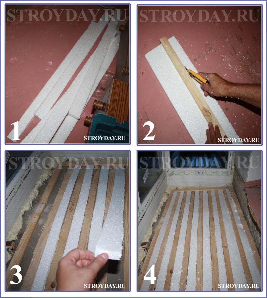 Укладываем пенопласт между лагами для утепления пола на балконе