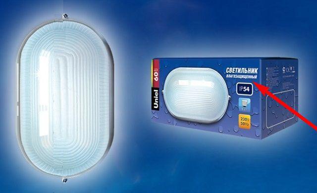 Обычно обозначение класса защищенности осветительного прибора вынесено на его упаковку
