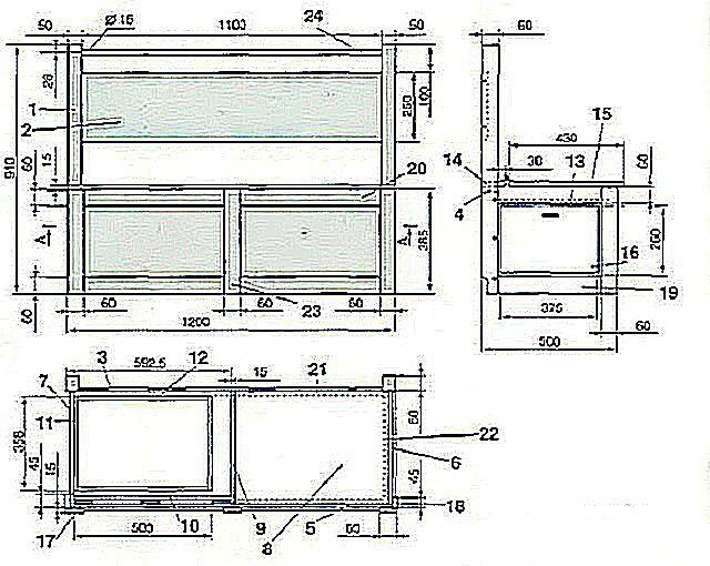 Чертеж дивана. Все размеры даны в миллиметрах