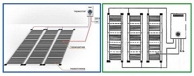 Возможные варианты схемы: одностороннее или двустороннее подключение кабелей