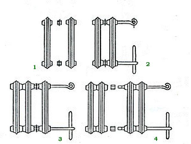 Как секции собираются в единую батарею - схематично: