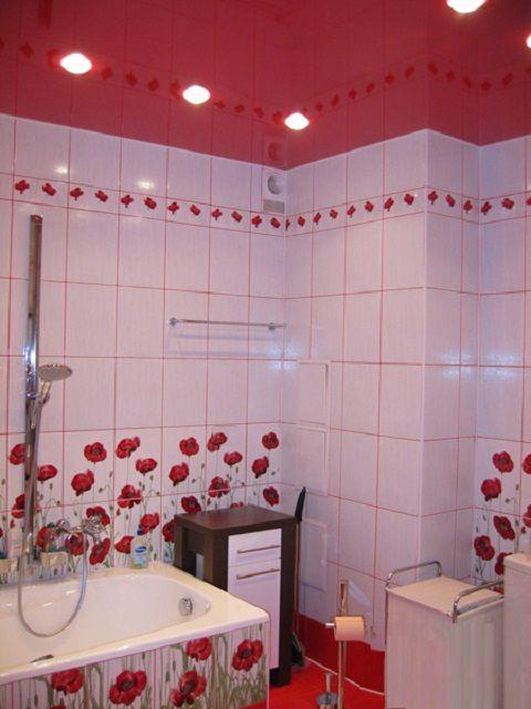 Все элементы в ванной комнате выдержаны в одном красно-белом стиле