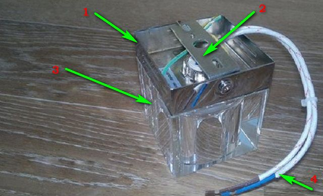 Примерная схема накладного светильника