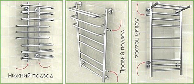 Варианты подключения водяных полотенцесушителей